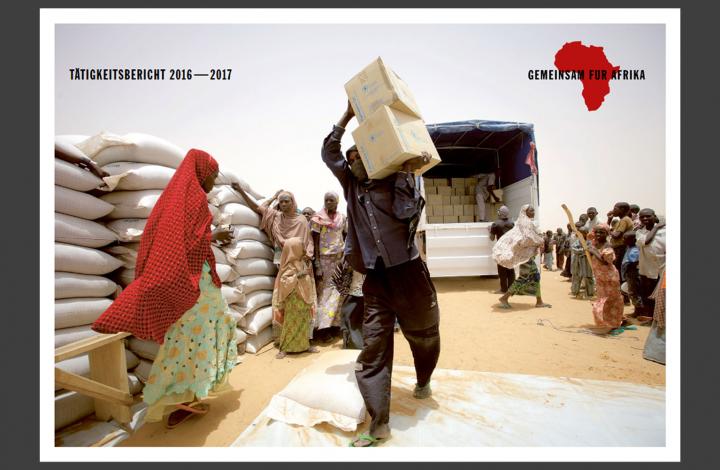Titelbild des Tätigkeitsbericht des Bündnisses GEMEINSAM FÜR AFRIKA. Redaktion, Text und Gestaltung: DFC Deutsche Fundraising Company.