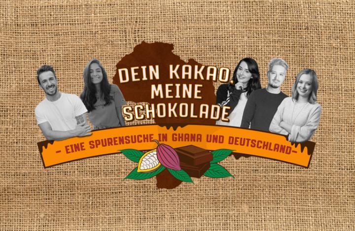 #SpurensucheKakao: Key Visual der Reise-Dokumentation mit Youtuber*innen in Ghana. Konzeption und Umsetzung: DFC Deutsche Fundraising Company